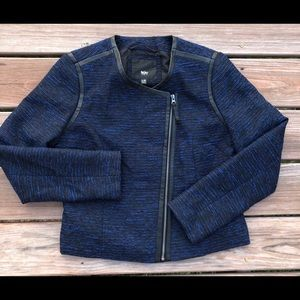 Mossimo Blue Tweed and Faux Leather Blazer Jacket
